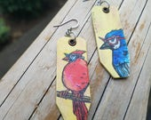 Hipster Birds - Blue Jay and Cardinal with rhinestone glasses - hand-painted Earrings