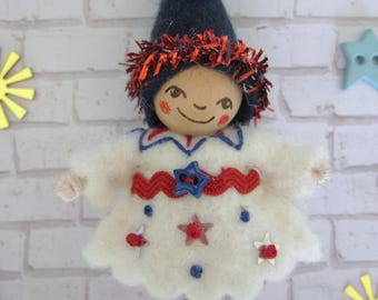 Stars and Stripes Pixie in White Art Doll Brooch