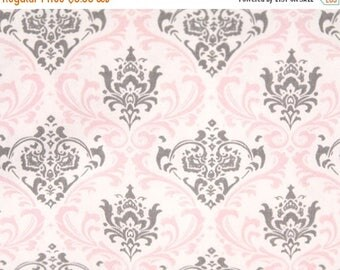 ON SALE - 10% Off Premier Prints Madison Bella Pink Storm Gray Damask Home Decorating Fabric By The Yard