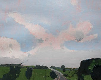 June Haze, Original Summer Landscape Painting on Paper, Stooshinoff