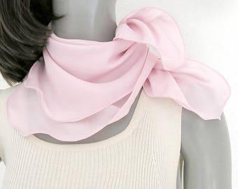 "Light Pink Neck Silk Scarf Bandana Scarflette, Hand Dyed Petite Kerchief One of a Kind, 21""x21"" Scarf for Girl, Artinsilk"
