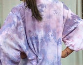 early bird robe sale Hand Dyed Kimono Robe in Orchid , Purple Blue and White Tie Dyed Rayon Bathrobe, Anna Joyce, Portland, OR.