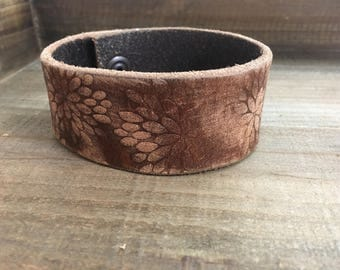 Embossed Leather Cuff-Create Your Own-Floral Bloom-Word Cuff