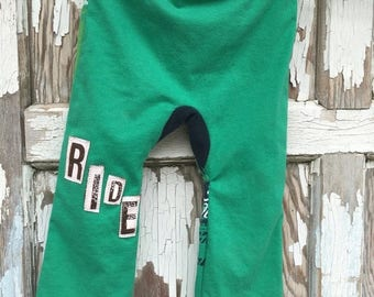 40% OFF- Big Butt Pants-Motorcycle Baby Pants-Recycled Clothing-Jersey Cotton-9-12 Months