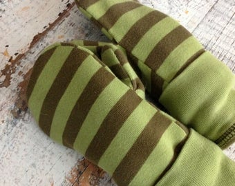 CRAZY SALE- Cotton Jersey Mittens--Young Child-Green Stripes