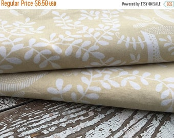 CRAZY SALE- Tan Floral Fabric-Reclaimed Bed Linens