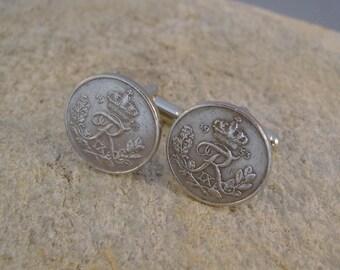 Like Royalty - Vintage 1953 Silver Crown Letter R Danish Denmark Coins Steampunk Cufflinks, Man Gift, Groomsman Gift, Birthday Gift