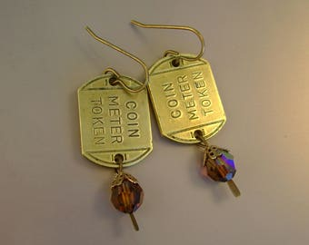 No Parking Zone - Vintage Brass Coin Meter Parking Tokens Tags Glass Beads Recycled Upcycled Jewelry Earrings