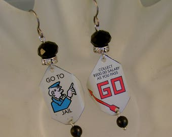 Passing Go - Vintage Monopoly Go to Jail Pass Go Tins Niobium Wires Recycled Repurposed Earrings - Ten Year Anniversary Gift