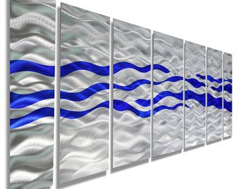 Large Multi Panel Modern Metal Wall Art In Silver & Blue, Handmade Contemporary Abstract Wall Painting - Caliente Blue XL by Jon Allen