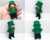 Leprechaun Bendy Doll- St. Patrick's Day- Lucky Charm Shamrock Clover, Waldorf Felt Doll- Small Doll- Felt Bendable Doll- Acorn Hat 002