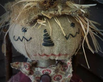 MUSTARD SEED ORIGINALS, Scarecrow, Girl, Red, Grey, Primitive, Very Primitive, Cloth Doll by Sharon Stevens