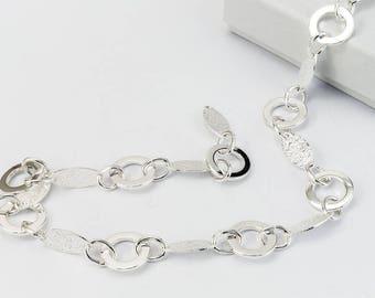 Bright Silver Alternating Round and Textured Diamond Chain #CC110