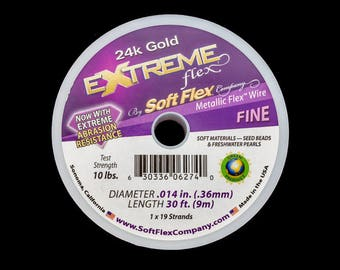 24 Kt. Gold .014 Inch 19 Strand Extreme Soft Flex Beading Wire (30 Ft) #WRS101