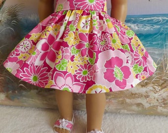 18 Inch Doll Clothes Skirt Fits Like American Girl Mod Bright Pink Florals With Lime Accents Very Gathered Skirt
