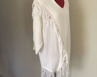 Vintage Southwest Fringed and Beaded Top