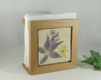 Save the Bees Napkin Holder, Mail Box, Wooden Mail Organizer, Flower Tile, Kitchen Decor, Office Desk Accessory, Letter Holder