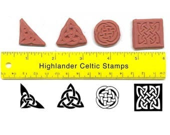 Celtic Knot Unmounted Rubber Stamp Set Four Celtic Knots Square Round Triquetra Corner  #USS20