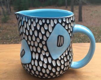 Mod Spot Porcelain Creamer blue black white