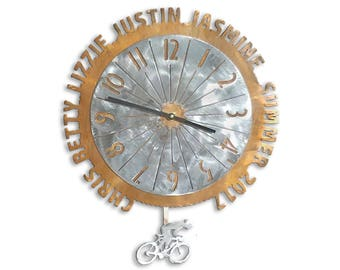 Personalized Bicycle Cycling Biking Metal Wall Pendulum Clock with Bike Wheel and Tire