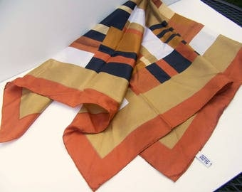 Vintage Brown Silk Scarf by Baar and Beard -  Color Blocked Brown