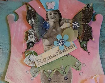 Original collage vintage fashion model shabby chic queen butterfly