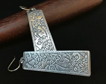 Silver Dangle Earrings - Textured with a Patina