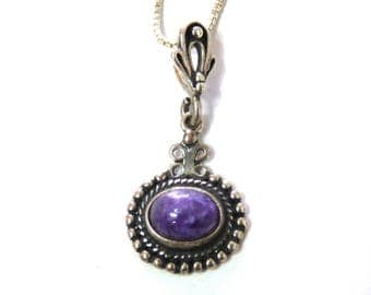 Russian Charoite Vintage Pendant Sterling Silver 80s
