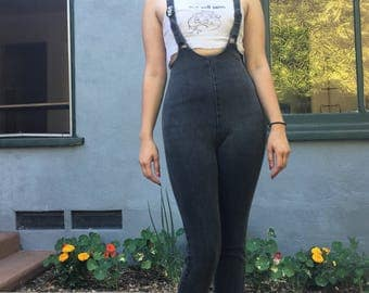 Vintage 80s new wave suspender pants