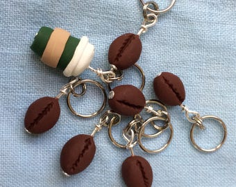 Coffee Bean and Latte To Go Stitch Markers (set of 7)