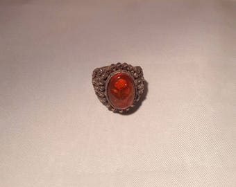 Carved Rose in Amber Silver Ring