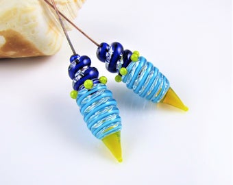 Blue and Yellow Glass and Copper Headpins