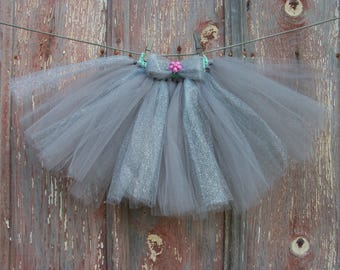 Size 2T-6 Gray and Silver Glitter Tutu with Matching Flower Hair Bow