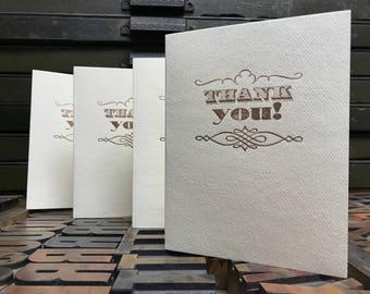 Penline Flourish Letterpress Thank You Cards - Set of 4