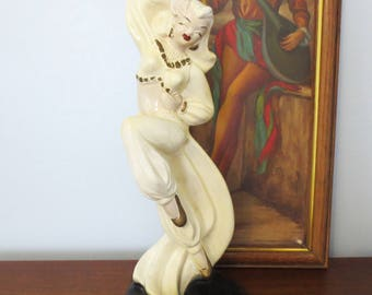 Mid Century Chalk Lamp Belly Dancer Novelty Chalkware Table Lamp Woman Dancing Dancer 40s 50s