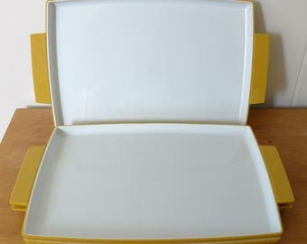 3 vintage yellow white plastic snack trays Olympian