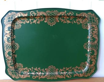 LOVE SALE xl vintage green and gold scroll tray