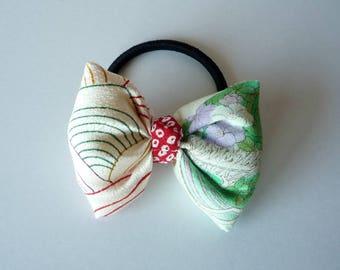 Kawaii Hair Style, Japanese Silk Kimono Fabric Ponytail Holder, Long Hair Hair Tie, Unique OOAK Gift for her
