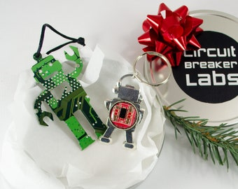 Circuit Board Robot Gift Set, Robot Keychain, Computer Geek, Robot Ornament, Holiday Gift Basket, Engineer Gift, Geeky Christmas Ornament