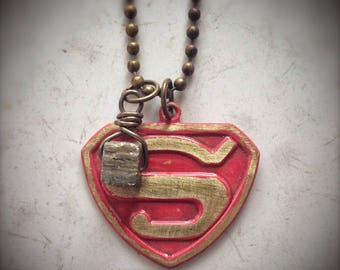 Super Necklace, Man Girl superhero S triangle pendant with pyrite 'fool's gold' drop, hand painted, cosplay, halloween costume