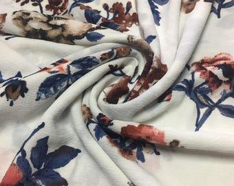 Rayon Crepe Floral Print Fabric 1-3/4 Yards
