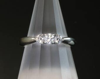Vintage! 14K White Gold Three Diamond Ring