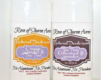 Deodorant Stick - Aluminum, Paraben and  Triclosan Free