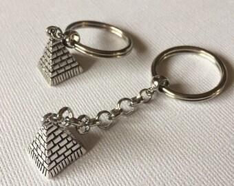 SUMMER SALE Silver Pyramid Keychain Key Ring or Zipper Pull - Egyptian Key Chain