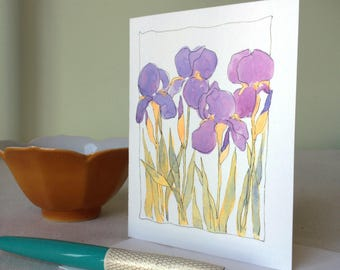 Cards -  Iris, Set of 4 - Blank inside