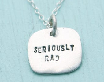 ON SALE SERIOUSLY Rad necklace, eco-friendly sterling silver pendant. Handcrafted by Chocolate and Steel