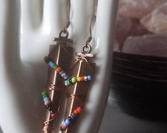 Copper tribal bead wrap Earrings