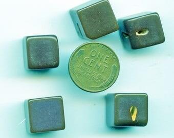 "Set of (5) Chunky Dark GREEN Bakelite CUBE Vintage Buttons 1/2"" 3949"