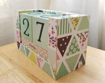 Perpetual Wooden Block Calendar - Peeking Llamas in Aqua Triangles - Geometric Alpacas - Great Friend Gift - Ready to Ship - Gifts for 20