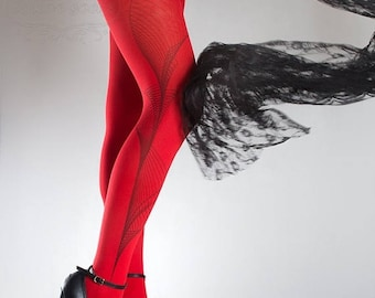 ON SALE/// Tattoo Tights -  Lines one size red full length printed tights, pantyhose, nylons by tattoosocks